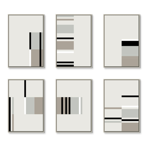Large Rectangular canvas & Collection 4C: Black, White, Cement, Stone