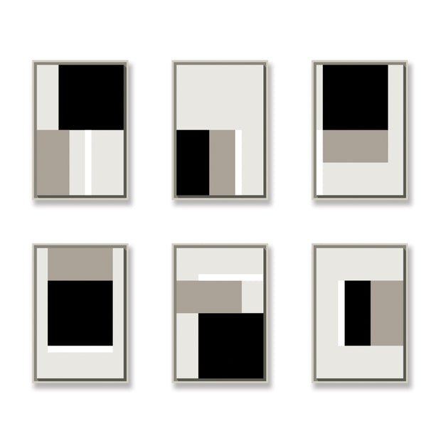 Standard Rectangular canvas & Collection 1C: Stone, White, Black