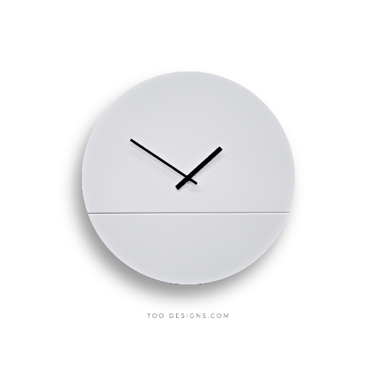TOO TONE CLOCK Large: White, White