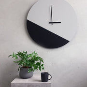 Two tone minimal wall clock in grey and black by TOO designs