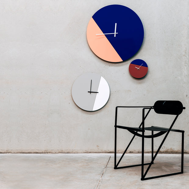 Two tone minimal wall clocks in standard, large and extra large. Australian design by TOO designs