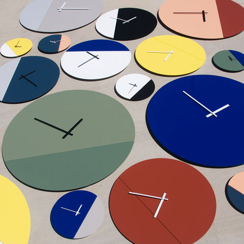 TOO tone wall clocks in mix and match custom colour palette. Designed and made by TOO designs, Melbourne