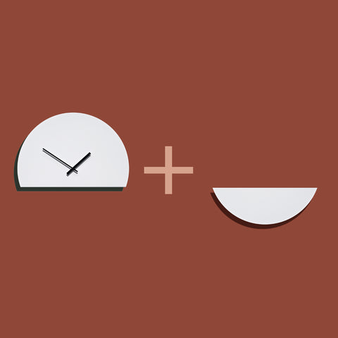 TOO tone wall clock that consist out of 2 colour parts creating a custom colour clock face. Designed by Too Designs Australia