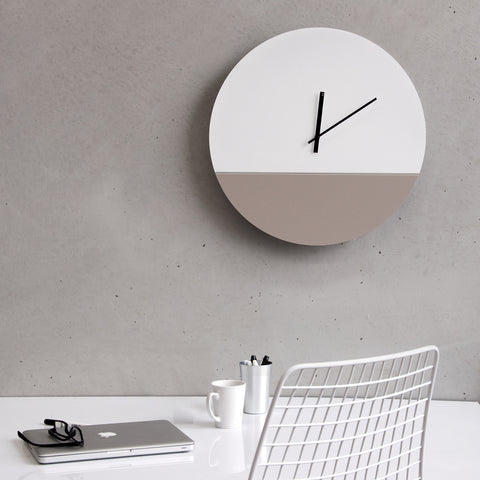 Large TOO tone wall clock with white, grey and black hands. The perfect modern wall clock for your office. Designed by TOO designs