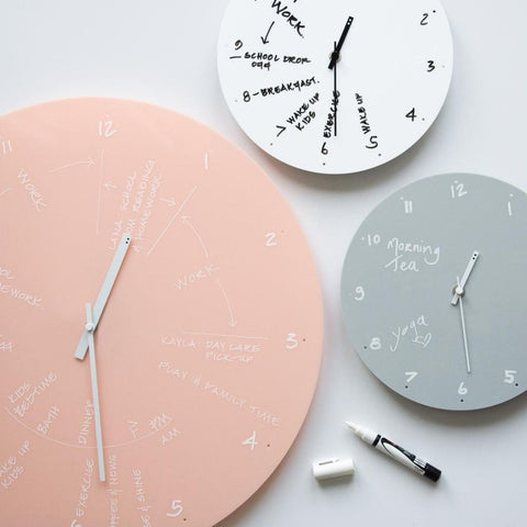 TOO designs TOO do time blocking wall clock in 3 colours with chalk marker