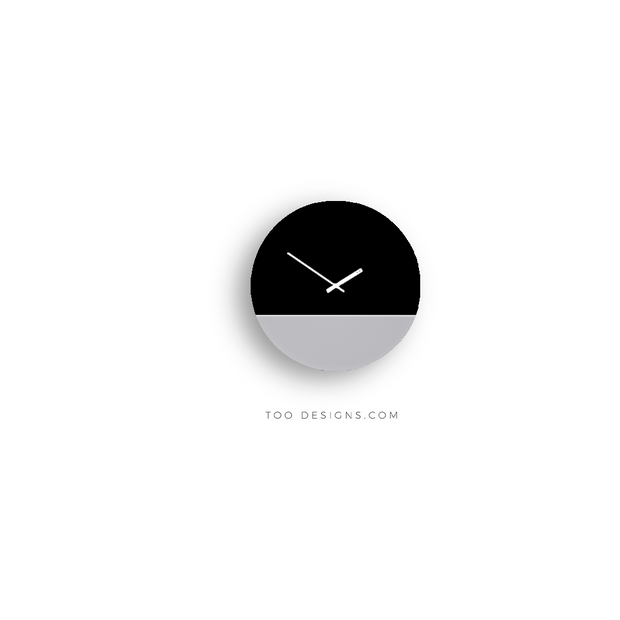 TOO TONE CLOCK Standard: Black, Cement