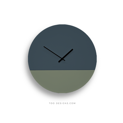 TOO TONE CLOCK Large: Slate Blue, Eucalyptus