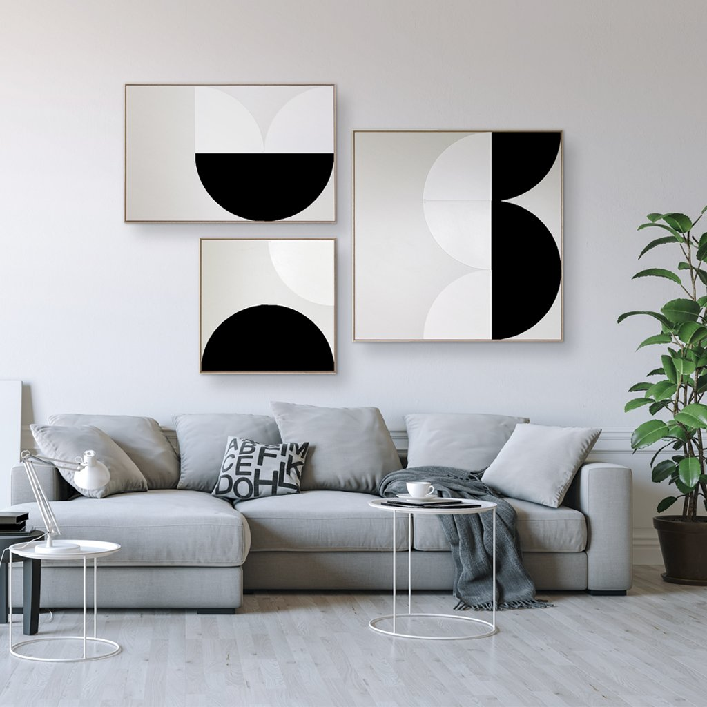 CANVAS KIT COMBO - 'ARC' Square Magnetic Art In Black & White