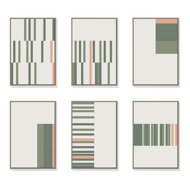 TOO D Magnetic Art - 'LINEAR' in Green & Salmon with Large Rectangle Canvas - TOO DESIGNS