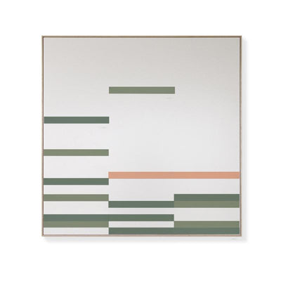 TOO D Magnetic Art - 'LINEAR' in Green & Salmon with Large Square Canvas - TOO DESIGNS