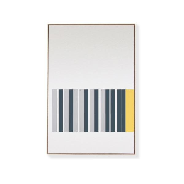TOO D Magnetic Art - 'LINEAR' in Slate Blue, Grey & Yellow with Large Rectangle Canvas - TOO DESIGNS