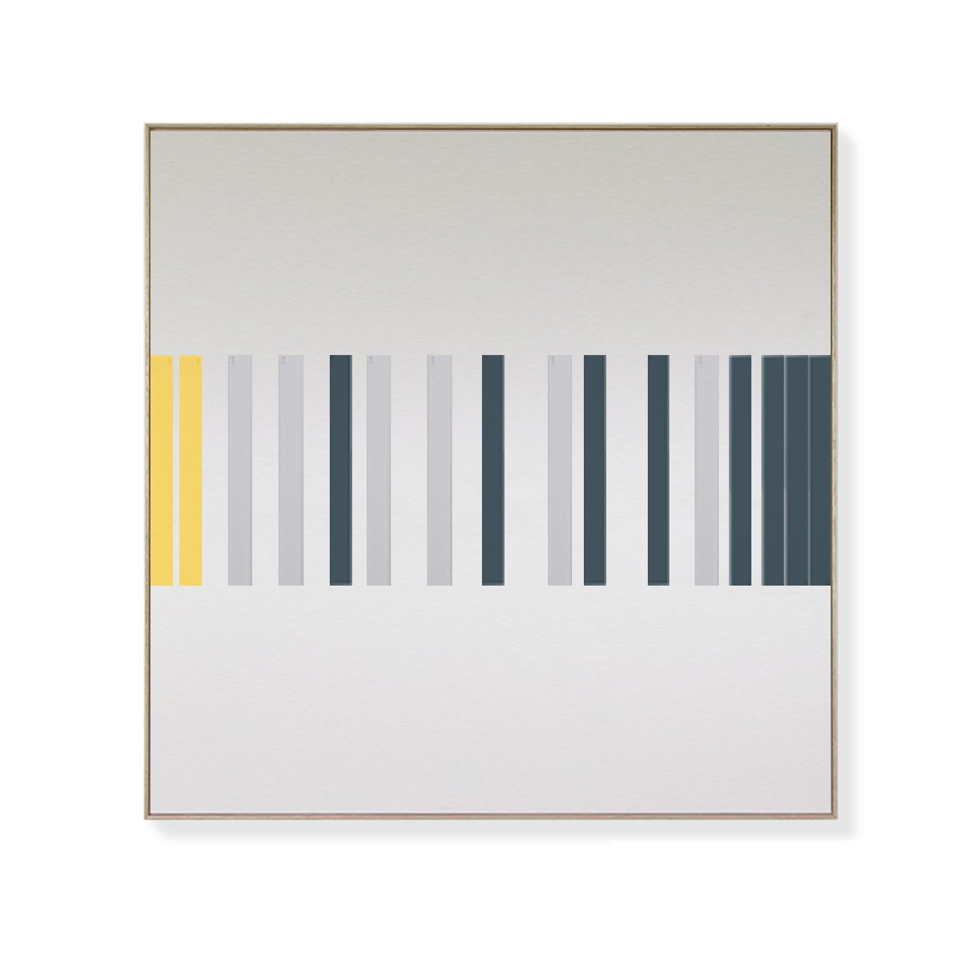 TOO D Magnetic Art - 'LINEAR' in Slate Blue, Grey & Yellow with Large Square Canvas - TOO DESIGNS