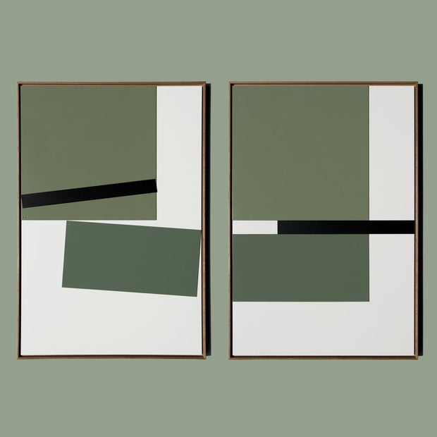 TOO D Magnetic Art - 'GRID' in Green with Standard Rectangle Canvas - TOO DESIGNS