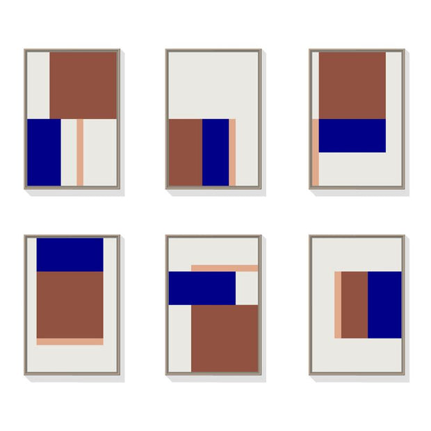 TOO D Magnetic Art - 'GRID' in Oxide,Blue & Salmon with Standard Rectangle Canvas - TOO DESIGNS