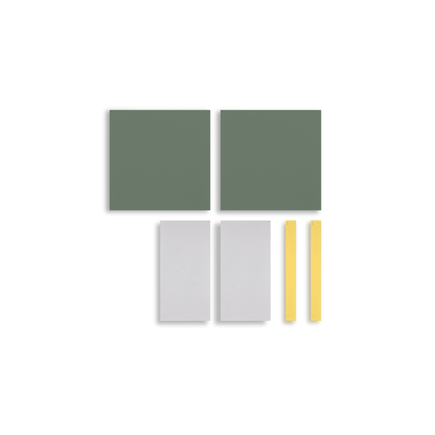 TOO D Magnetic Art - 'URBAN' in Green, Grey & Yellow with Large Square Canvas - TOO DESIGNS