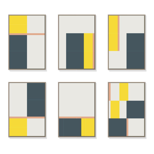 TOO D Magnetic Art - 'URBAN' in Slate Blue, Yellow & Salmon with Large Rectangle Canvas - TOO DESIGNS