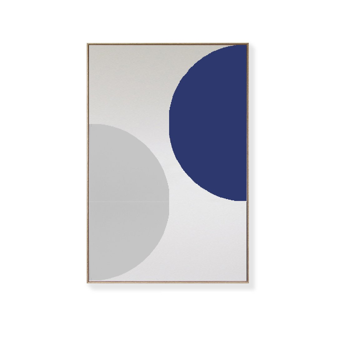 TOO D Magnetic Art - 'ORBIT' in Blue & Grey with Large Rectangle Canvas - TOO DESIGNS