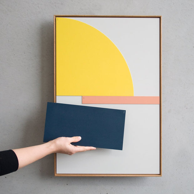 TOO D Magnetic Art - 'FUSION' in Yellow, Slate Blue & Salmon with Standard Rectangle Canvas - TOO DESIGNS