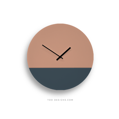 TOO TONE CLOCK Large: Salmon, Slate Blue