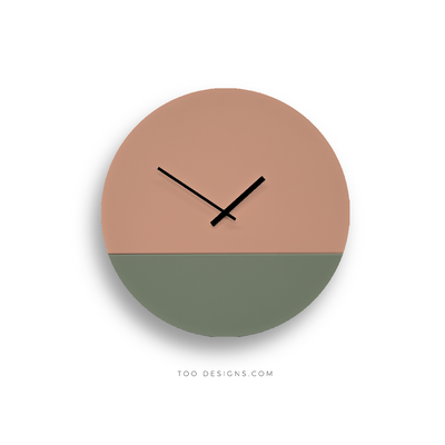 TOO TONE CLOCK Large: Salmon, Eucalyptus