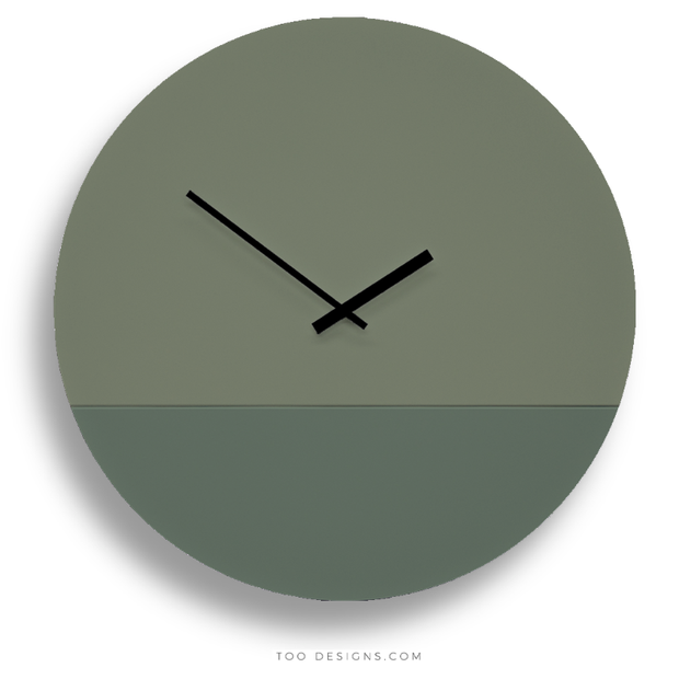 TOO tone wall clock: Extra Large - Eucalyptus Green & Forest Green - TOO DESIGNS