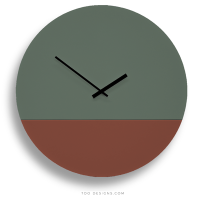 TOO tone wall clock: Extra Large - Forest Green & Oxide Red - TOO DESIGNS