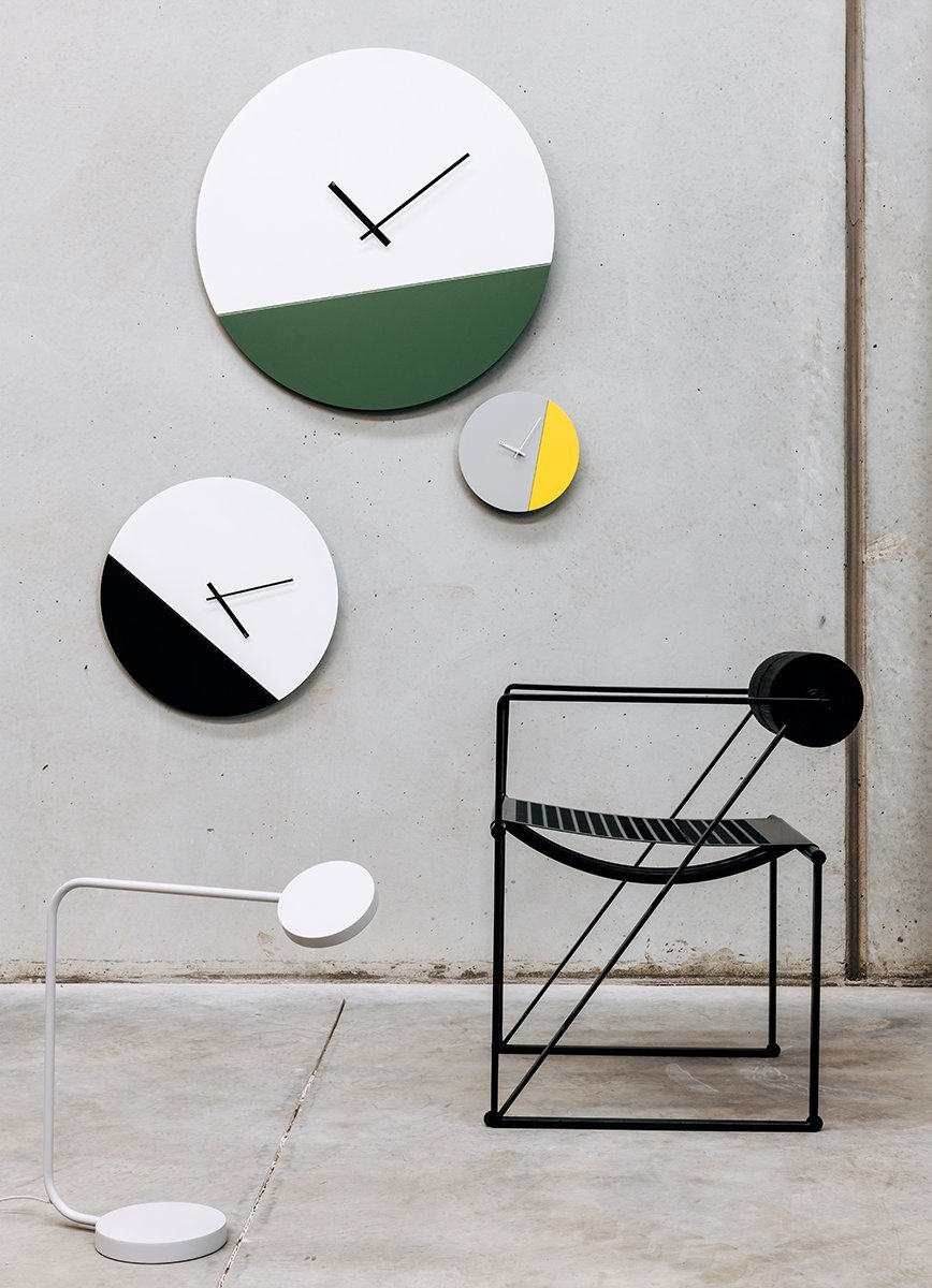 TOO tone wall clock: Extra Large - Lemon Yellow & Cement Grey - TOO DESIGNS