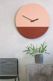 TOO tone wall clock: Extra Large - Salmon Pink & Cobalt Blue - TOO DESIGNS