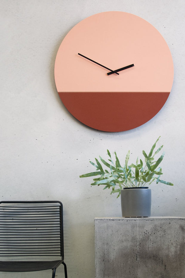 TOO tone wall clock: Extra Large - Oxide Red & Salmon Pink - TOO DESIGNS