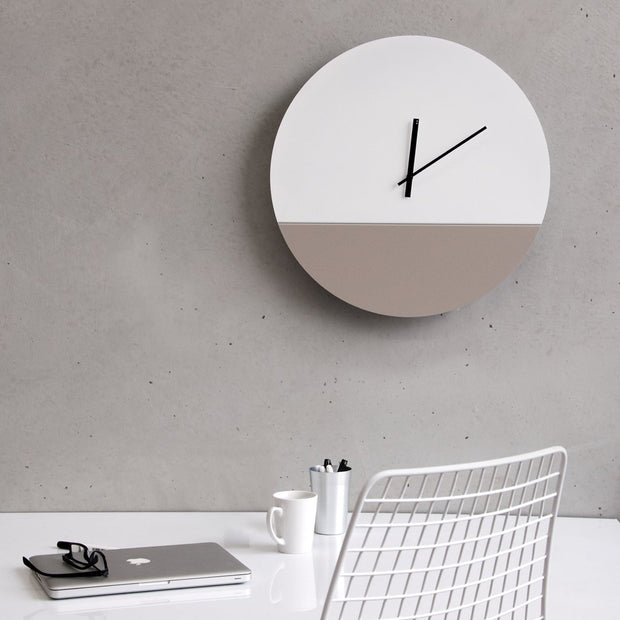 TOO tone wall clock: Large - Cement Grey & Black - TOO DESIGNS