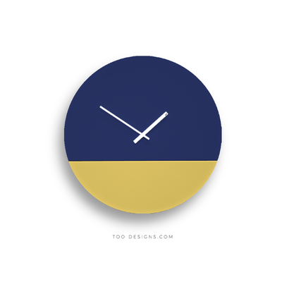 TOO tone wall clock: Large - Cobalt Blue & Lemon Yellow - TOO DESIGNS