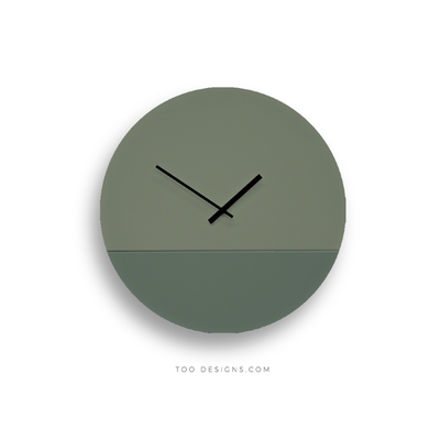 TOO tone wall clock: Large - Eucalyptus Green & Forest Green - TOO DESIGNS