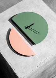 TOO tone wall clock: Large - Forest Green & Oxide Red - TOO DESIGNS