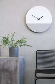 TOO tone wall clock: Large - Lemon Yellow & Cement Grey - TOO DESIGNS
