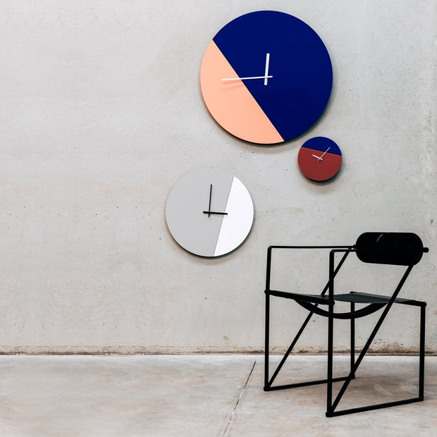TOO tone wall clock: Large - Salmon Pink & Cobalt Blue - TOO DESIGNS