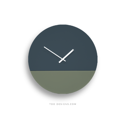 TOO tone wall clock: Large - Slate Blue & Eucalyptus Green - TOO DESIGNS