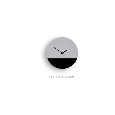 TOO tone wall clock: Standard - Cement Grey & Black - TOO DESIGNS