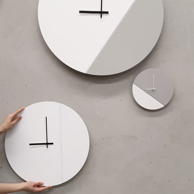 TOO tone wall clock: Standard - Lemon Yellow & Cement Grey - TOO DESIGNS