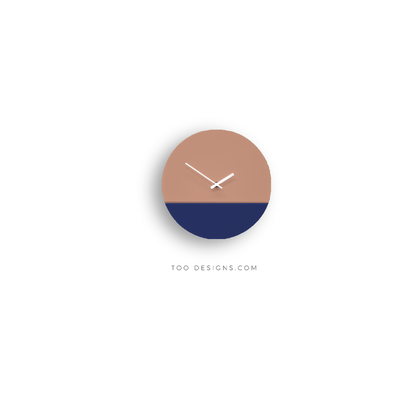 TOO tone wall clock: Standard - Salmon Pink & Cobalt Blue - TOO DESIGNS