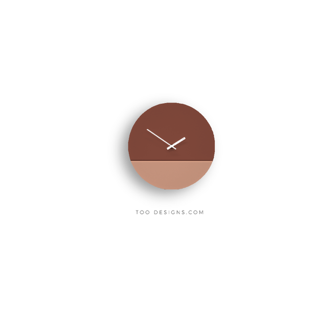 TOO tone wall clock: Standard - Salmon Pink & Oxide Red - TOO DESIGNS