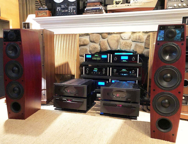 McIntosh LS340 Full Range Speakers - In a Deep Red Mahogany Finish with Grills
