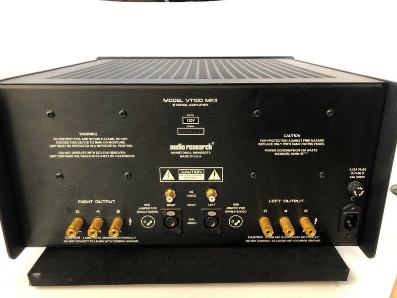 Audio Research VT100 MKII Vintage 100W Tube Amplifier - Black Faceplate - 110V/220V