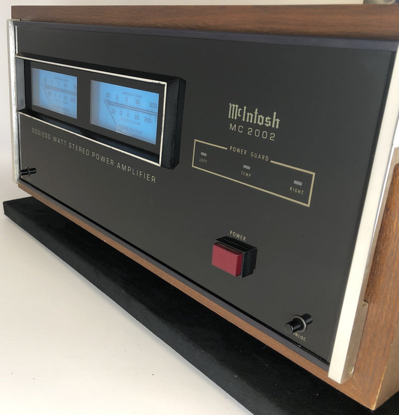 McIntosh MC2002 Solid State Amplifier with Gorgeous Meters - Rare - Wooden Case