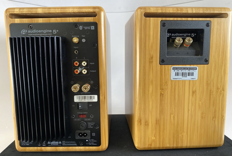 Audioengine 5+ Powered Bluetooth Speakers - Like New in Bamboo Finish