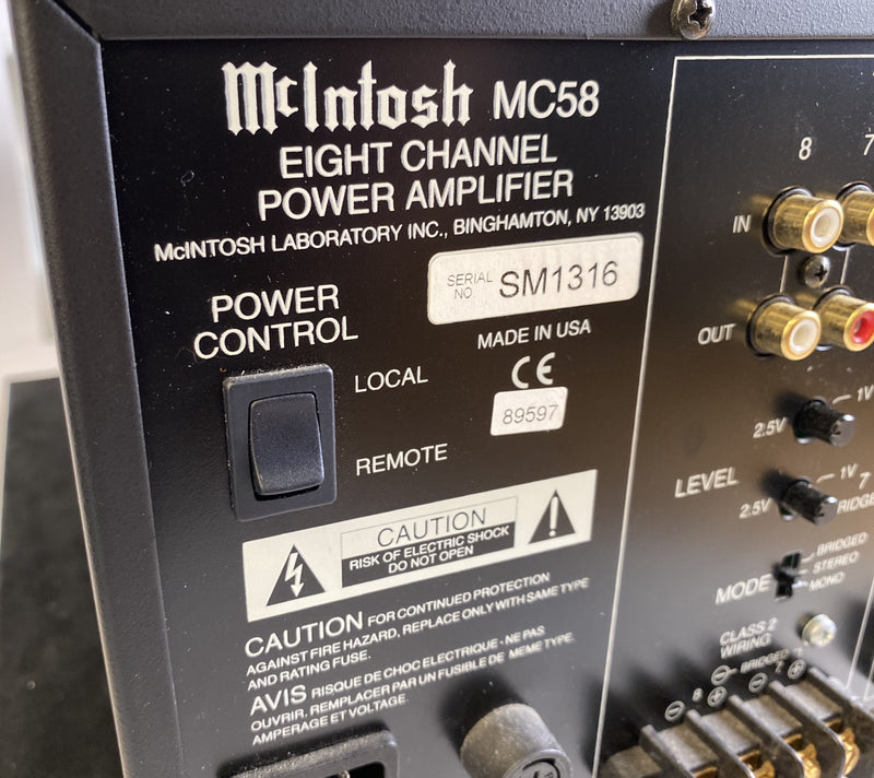McIntosh MC58 Multichannel Amplifier - 8 Configurable Channels