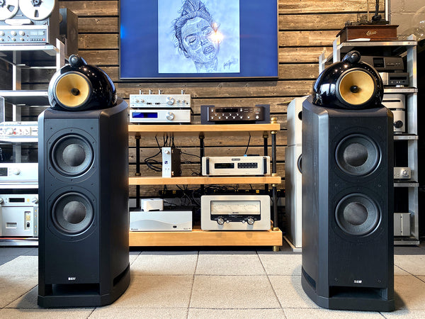 B&W (BOWERS & WILKINS) NAUTILUS 802 SPEAKERS IN BLACK - MINTY