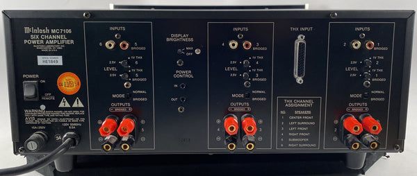 McIntosh MC7106, 6 Channel Solid State w/LED VU Meters, THX