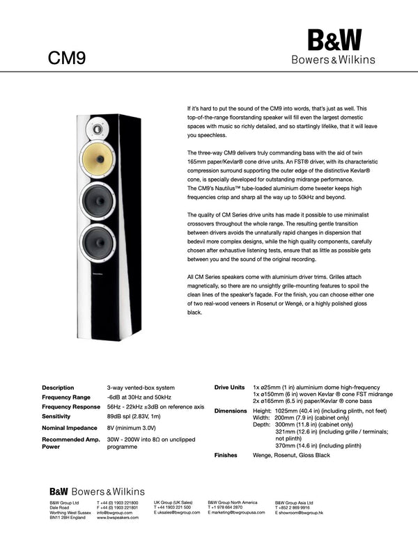 B&W (Bowers & Wilkins) CM9 Floorstanding Speakers