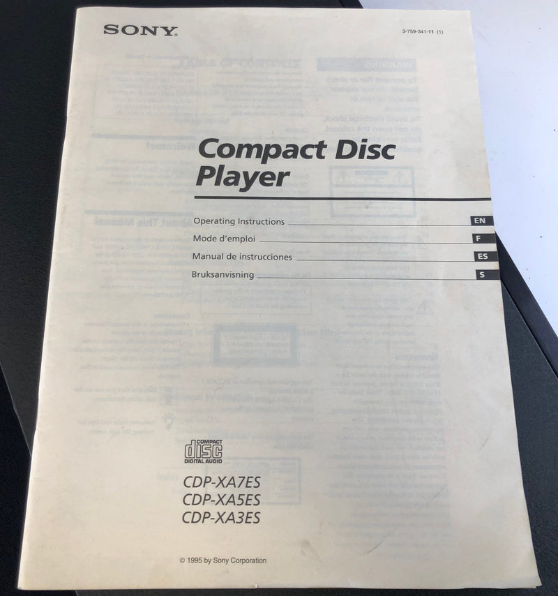 Sony CDP-XA7ES CD Player - One of the Best From The 1990's - With Remote