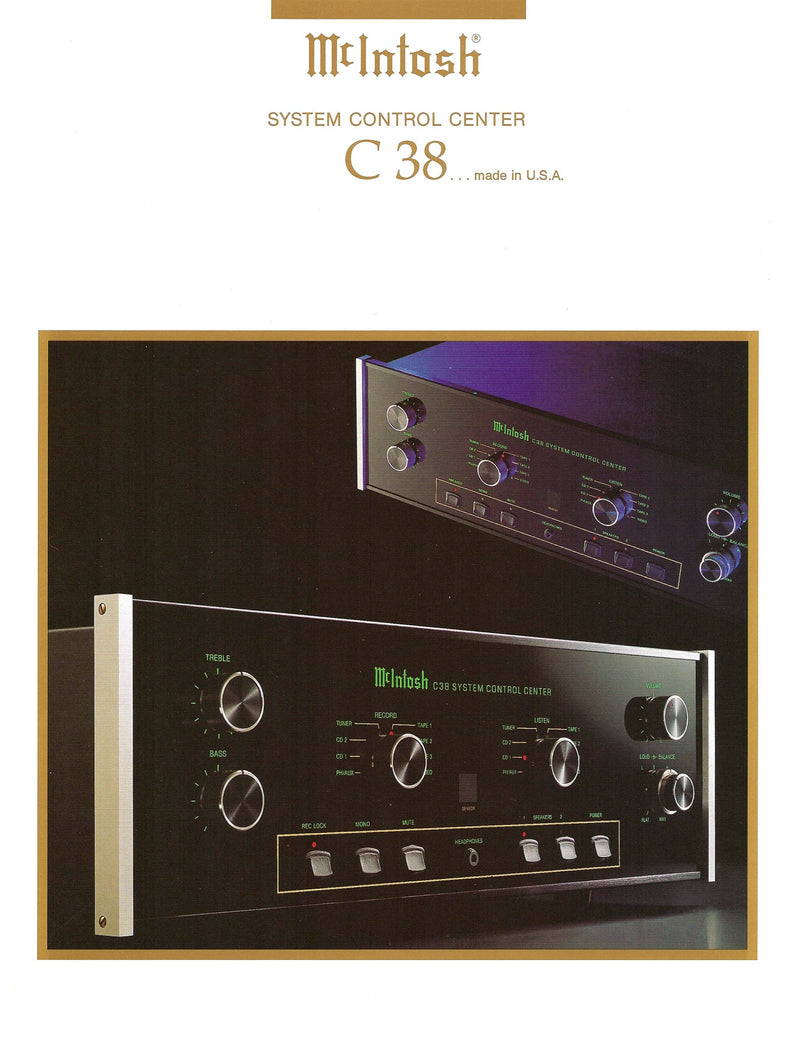 McIntosh C38 Solid State Preamp - Full Featured Including Phono Stage